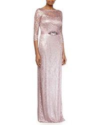 Rickie Freeman For Teri Jon Lace Belted 3 4 Sleeve Gown