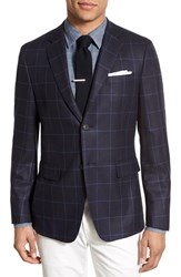 Men's Jack Spade Trim Fit Windowpane Silk And Wool Sport Coat