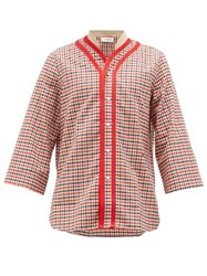 Wales Bonner Saint Checked Wool Blend Shirt Red Multi