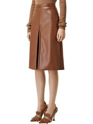 Burberry High Waist Faux Leather Midi Skirt Brown
