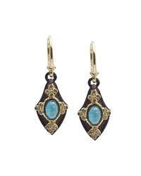 Armenta Pointed Shield Turquoise Moonstone And Diamond Drop Earrings