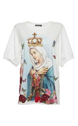 Dolce And Gabbana Jeweled Virgin Mary Print Tee