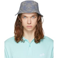 Band Of Outsiders Grey And Blue Seersucker Bucket Hat
