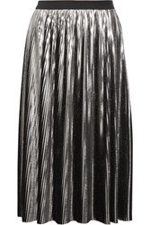 Jil Sander Pleated Lame Midi Skirt Silver
