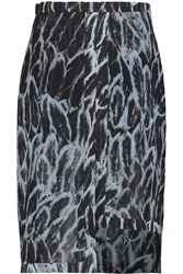 Halston Asymmetric Printed Crepe Skirt Black