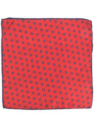 Canali Flower Spot Pocket Square Red