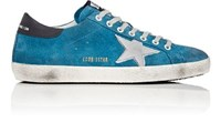 Golden Goose Men's Superstar Suede Sneakers Blue Silver Black Blue Silver Black