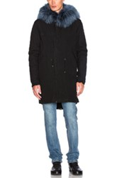 Mr And Mrs Italy Canvas Parka With Rabbit Fur In Black