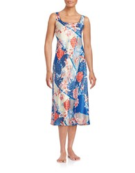 N Natori Floral Nightgown Blue