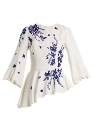 Andrew Gn Embellished Floral Embroidered Blouse Blue White