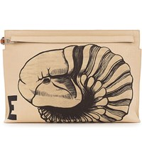 Loewe Fossil Print Canvas And Leather Pouch Natural White Tan