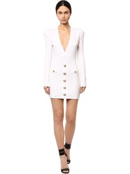 Balmain Fitted Viscose Blend Knit Mini Dress White