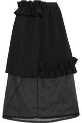 Paskal Ruffle Trimmed Bonded Stretch Crepe And Organza Skirt Black