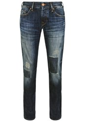 True Religion Rocco Red Selvage Straight Leg Jeans Blue Blue Denim
