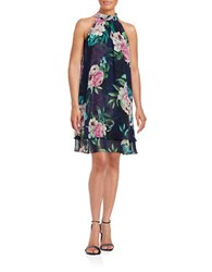 Eliza J Floral Halter Dress Navy Multi