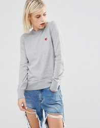Love Moschino Heart Clip Cotton Jumper Grey