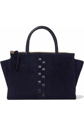 Clare V. Woman Petite Sandrine Woven Leather Trimmed Suede Tote Navy