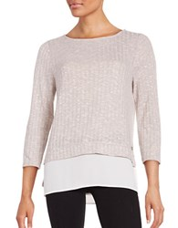 Ivanka Trump Scoopneck Ribbed Layer Sweater Taupe Ivory