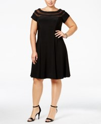Betsy And Adam Plus Size Illusion Fit Flare Dress Black