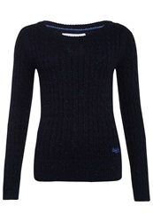 Superdry New Croyde Cable Crew Neck Jumper Navy