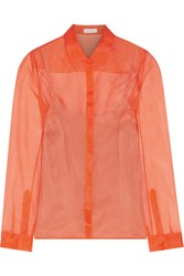 Delpozo Silk Voile Blouse Bright Orange