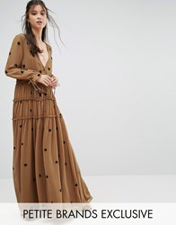 White Cove Petite Star Embellished Maxi Dress With Tassel Sleeve Copper Orange