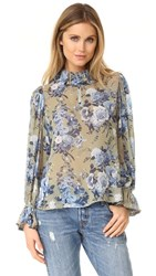 Robert Rodriguez Floral Bouquet Ruffle Collar Blouse Stone Floral