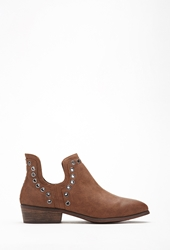 Forever 21 Grommeted Faux Leather Booties Chestnut