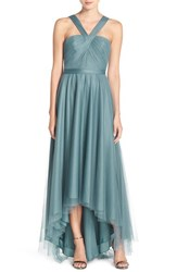 Monique Lhuillier Bridesmaids Women's V Neck Tulle High Low Gown