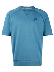 Nike Short Sleeve Sweatshirt Men Cotton L Blue