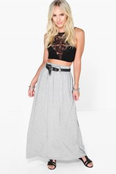 Boohoo Melly Floor Sweeping Viscose Maxi Skirt Grey Marl