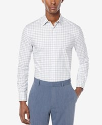 Perry Ellis Men's Non Iron Check Long Sleeve Shirt Bright White