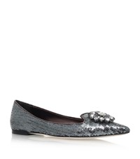 Dolce And Gabbana Bellucci Sequin Ballet Flats Female Blue