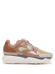 Fendi Low Top Leather And Mesh Trainers Pink