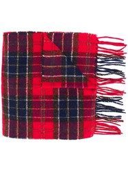 Barbour Plaid Fringed Scarf Red