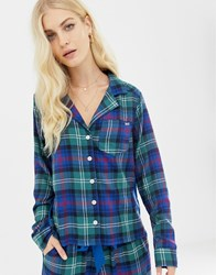 Abercrombie And Fitch Tartan Pyjama Shirt With Side Panel Navy Plaid