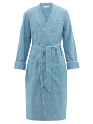 Derek Rose Kelburn Houndstooth Checked Cotton Flannel Robe Light Blue