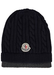 Moncler Navy Cable Knit Wool Beanie