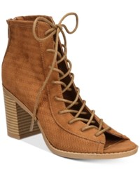 American Rag Sidni Lace Up Booties Only At Macy's Women's Shoes Maple