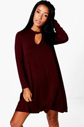 Boohoo Key Hole Long Sleeve Swing Dress Merlot