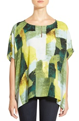 Chaus 'Graphic Pastures' Print Poncho Style Blouse Moss
