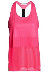 Monreal London Paneled Mesh And Perforated Stretch Tank Bright Pink