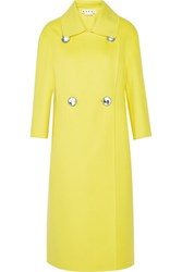 Marni Double Breasted Wool Cashmere And Angora Blend Coat Bright Yellow