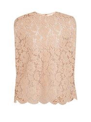 Valentino Floral Lace Top Beige