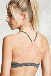 Forever 21 Low Impact Strappy Sports Bra Charcoal Peach