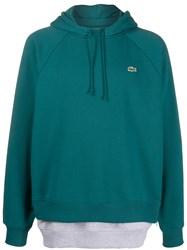 Lacoste Live Layered Look Hoodie Green
