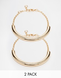 River Island Gold Chunky Cuff Multipack Anklets Metalyellow