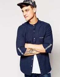 Pull And Bear Pullandbear Shirt With Grandad Collar Navy
