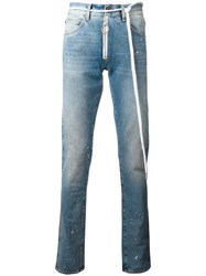 Off White Splitter Print Slim Fit Jeans Blue