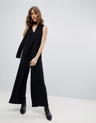 Selected Femme Plisse Cropped Trousers Black